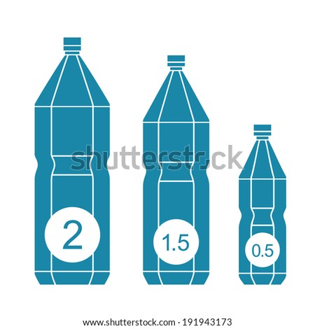 Set of isolated water bottle icons. Vector flat design - stock vector