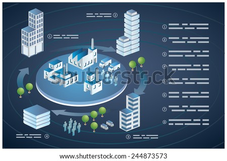 Set of Isometric Buildings, buildings and transport. - stock vector