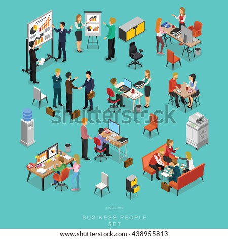 Set of ISOMETRIC BUSINESS PEOPLE TEAMWORK MEETING in office, share idea,  info graphic vector design - stock vector