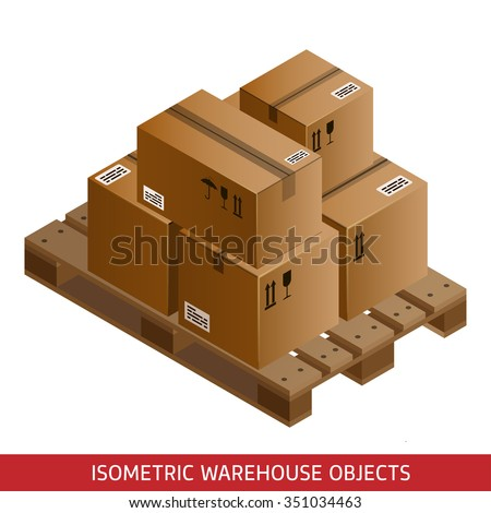 Set of isometric cardboard boxes and pallet. 3D warehouse equipment. Industrial pallets and boxes for warehouse. Isometric packages. - stock vector