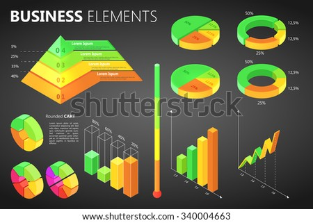 Set of isometric infographics elements for presentation - stock vector