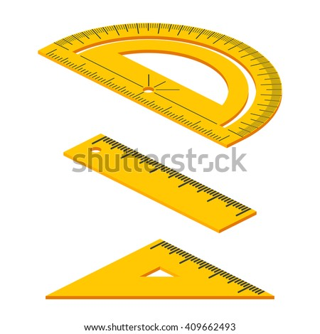 Set of Isometric measuring tools: rulers, triangles, protractor. Vector school instruments isolated on white background.  - stock vector