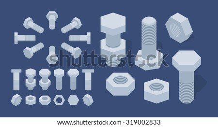 Set of isometric screw-nuts and bolts. The objects are isolated against a dark blue background and shown from different sides - stock vector