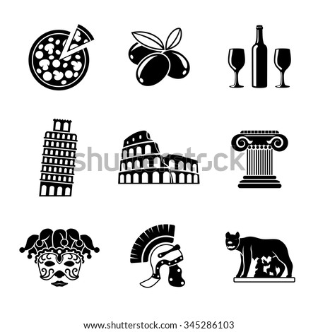 Set of Italy freehand icons - pizza, olives, wine, Pisa Tower, Colosseum, Column, venecian mask, Legionnaire's Helm, Lupa Capitolina. Vector - stock vector