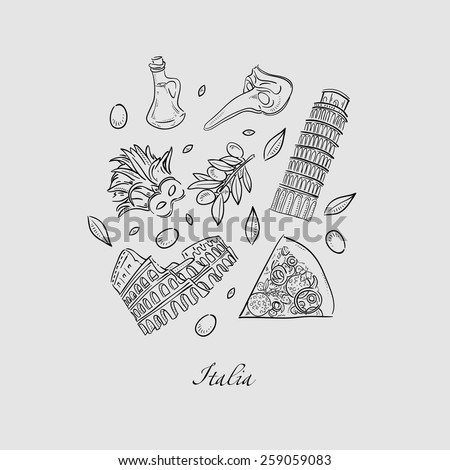 Set of Italy icons doodle hand drawn vector illustration - stock vector