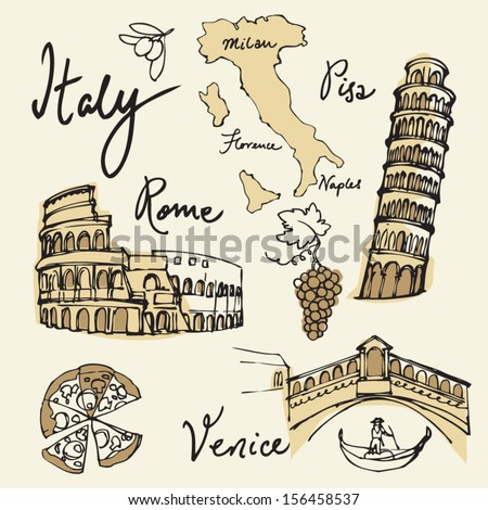 Set of Italy icons vector illustration - stock vector