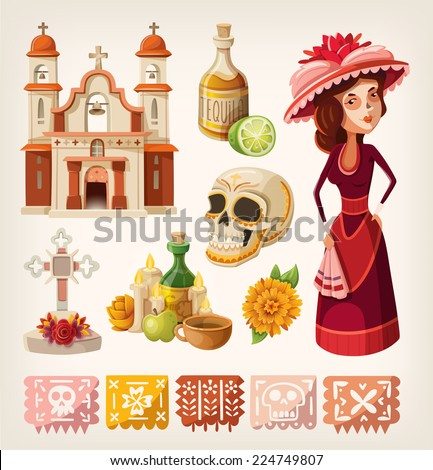 Set of items for day of the dead and calavera de la Catrina - stock vector