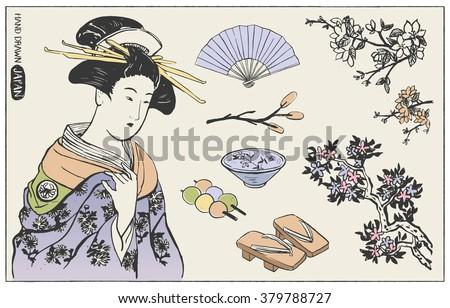 Set of Japanese design elements. Geisha Woman Illustration. Hand drawn vector illustration. - stock vector