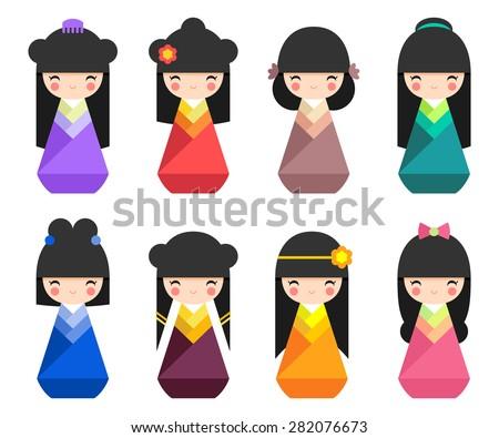 Set of Japanese Kokeshi Dolls flat icons - stock vector