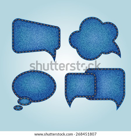 Set of jeans speech bubbles - stock vector