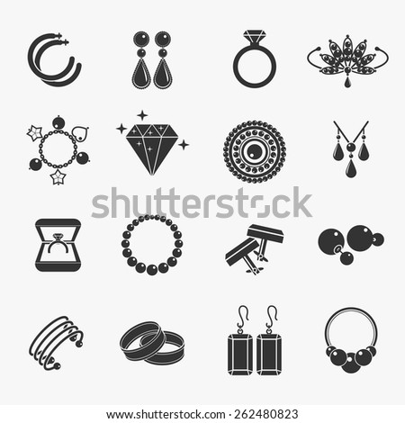Set of jewelry icons. Earrings and rings, cufflinks and necklaces. Vector illustration - stock vector