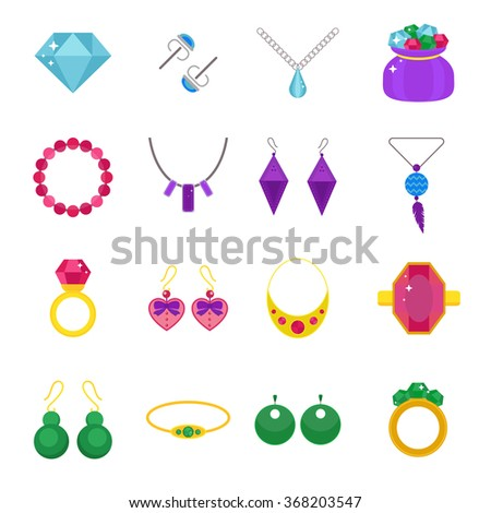 Set of jewelry vector flat icons. Gold precious accessorize. Jewelry sign vector illustration icons isolated on white background. Jewelry icons set - stock vector