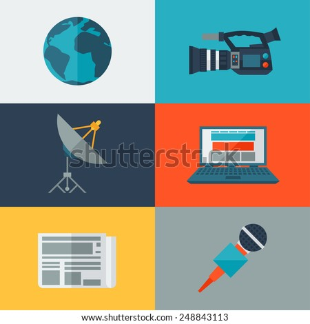 Set of journalism icons. Mass media and press conference concept symbols in flat style. - stock vector