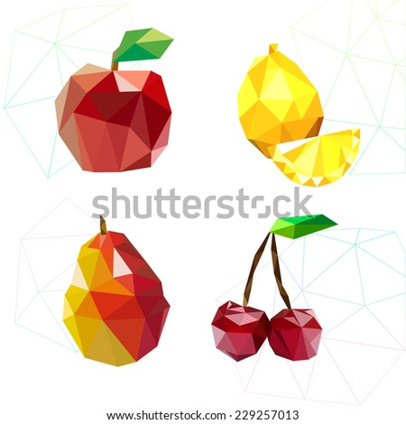 Set of juicy fruit polygon . Apple, lemon , cherry and pear. Vector illustration - stock vector