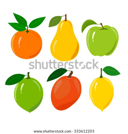 Set of juicy ripe fruit isolated on a white background. Set of juicy ripe fruit isolated on a white background - orange, pear, apple, lime, mango, lemon. - stock vector