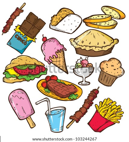 set of junk food in doodle style - stock vector