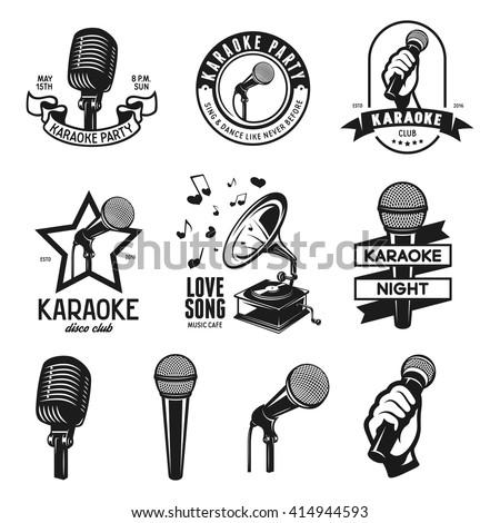 Set of karaoke related vintage labels, badges and design elements. Microphones isolated on white background. Vector vintage illustration. - stock vector