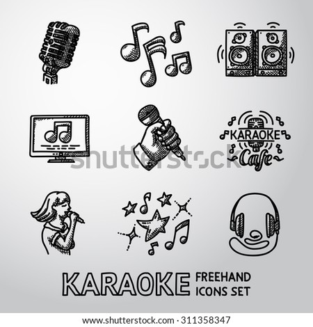 Set of karaoke singing freehand icons - microphone, notes, loudspeakers, tv-screen, hand with mic, karaoke cafe sign, singer, headphones. Vector - stock vector