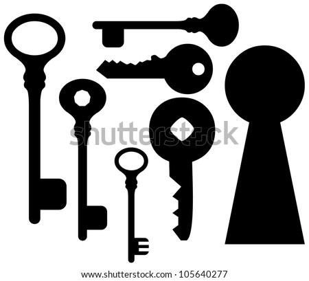 set of keys  and keyhole.  Collection of Key Silhouettes - stock vector
