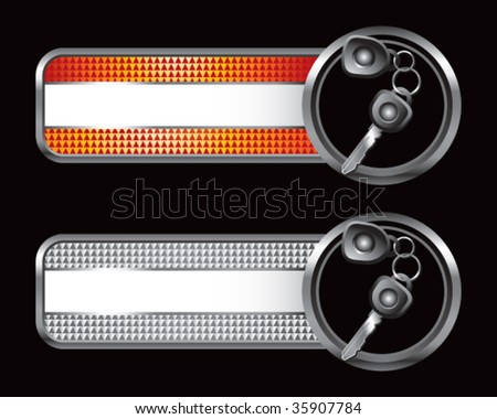 set of keys on specialized banners - stock vector