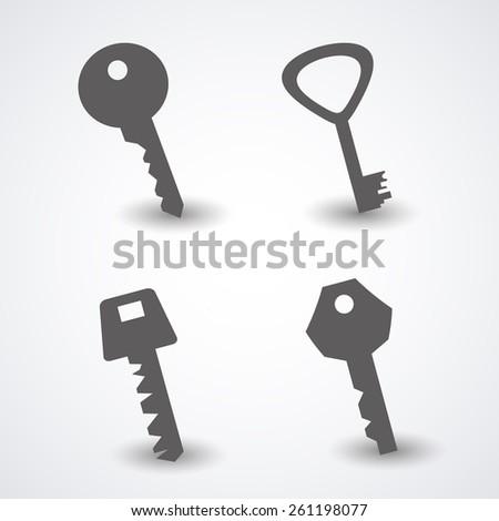 Set of keys. Vector - stock vector