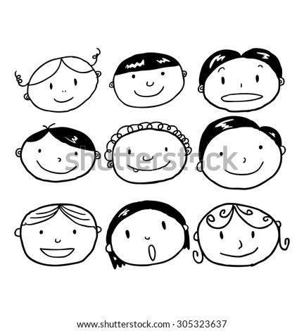 set of kid face cartoon - stock vector