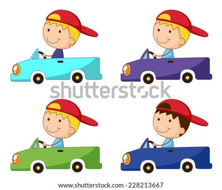 Set of kids in box cars - stock vector