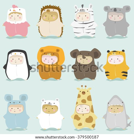 Set of kids in cute animal costumes 2 , vector , illustration - stock vector