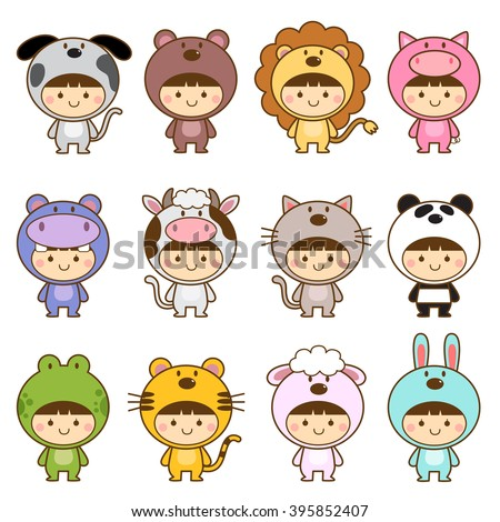 Set of kids in cute animals costumes - stock vector