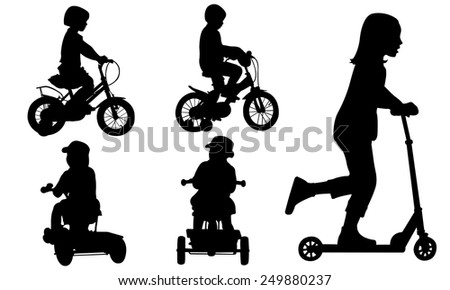 set of kids on bikes - stock vector