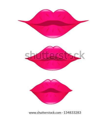 Set of kissing lips - stock vector