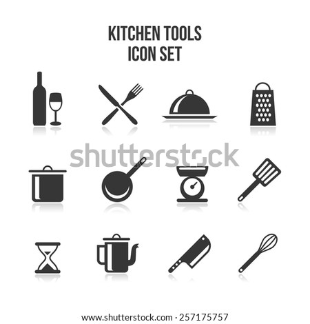 Set of kitchen and cooking icons. Saucepan and pans, bottle and wine glass, fork and knife, grater and hourglass. Vector illustration - stock vector