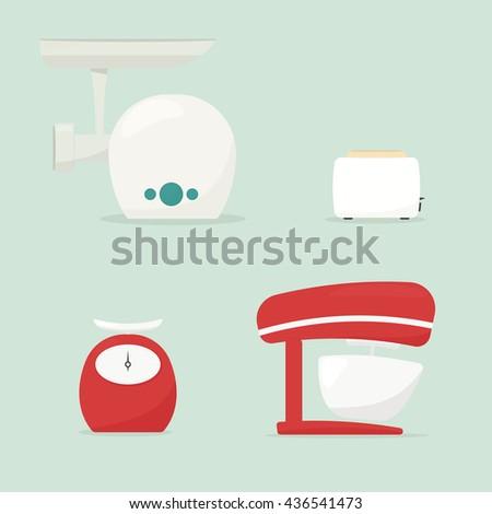 Set of kitchen appliances. Food processor. Toaster. Meat grinder - stock vector