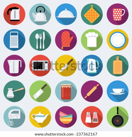 Set of kitchen icons in flat design with long shadows - stock vector
