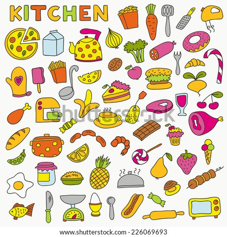 Set of kitchen icons. Including pots, bowls, dishes and various utensils. - stock vector