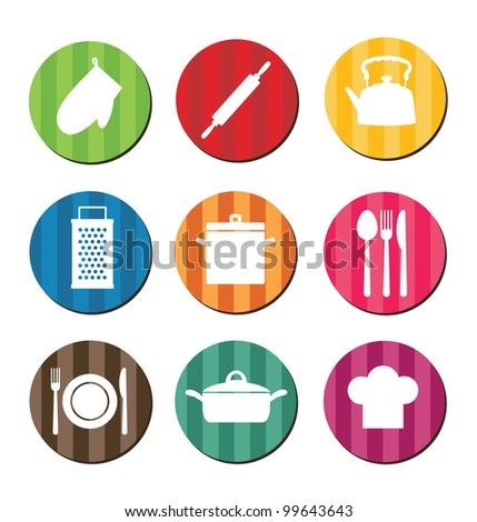 set of kitchen icons.vector illustration - stock vector