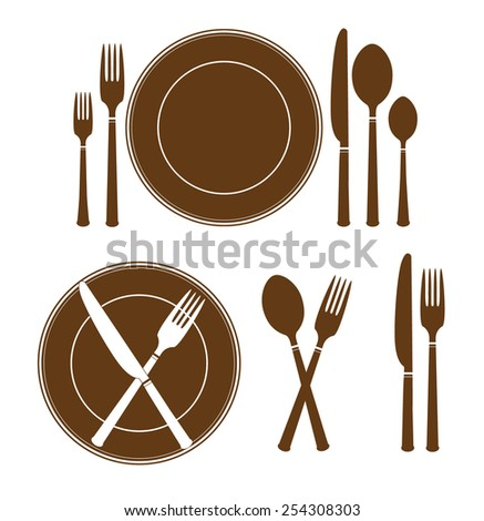 set of kitchen object. Vector icon. Isolated on White Background. - stock vector