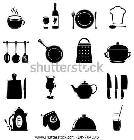 set of kitchen tools silhouettes - stock vector