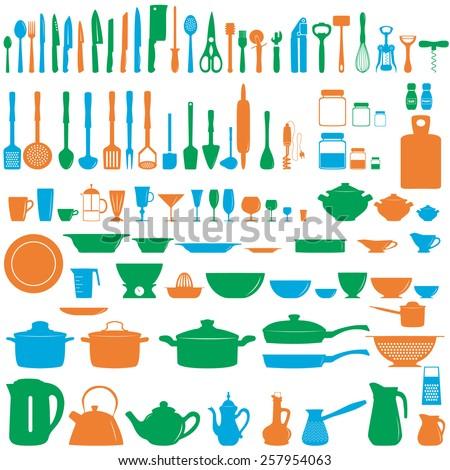 Set of kitchen untesils, vector illustration - stock vector