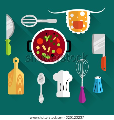 Set of kitchen utensils for cooking. Icons of kitchenware on a turquoise background. The food in the saucepan. Flat design vector Illustration - stock vector