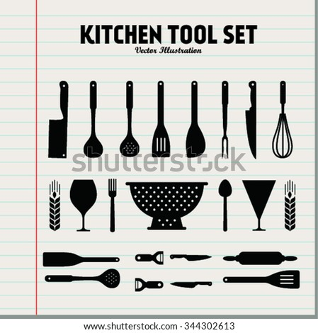 Kitchen accessories stock photos images pictures for Kitchen set vector