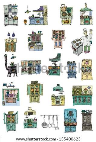 set of kitchens - cartoon - stock vector