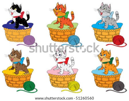 Set of kittens - stock vector