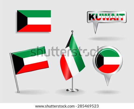 Set of Kuwait pin, icon and map pointer flags. Vector illustration. - stock vector
