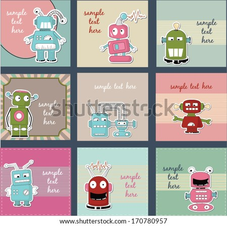 set of labels and cards with cute robots - stock vector