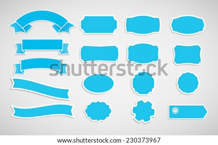 Set of labels and tapes. - stock vector