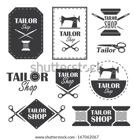 Set of labels, badges and signs for tailor shop in vector - stock vector