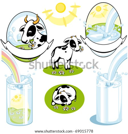 set of labels. cow and milk. vector. - stock vector