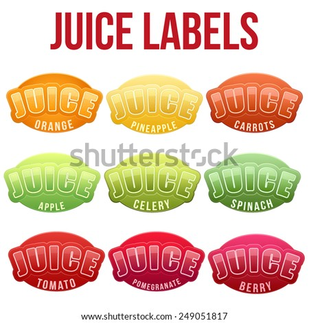 Set of Labels for juice. Bright premium quality design. Editable Vector Illustration isolated on white background. - stock vector