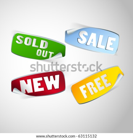 Set of labels for the new, sold out and  free, discount item - stock vector